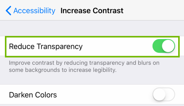 Increase Contract settings with Reduce Transparency highlighted.