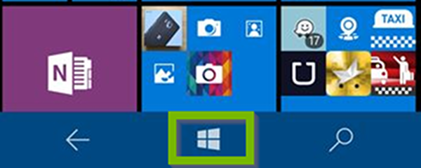 Windows Phone home screen with Start button highlighted.