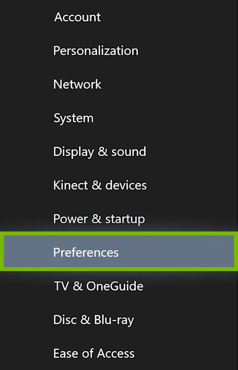 Preferences option highlighted in Xbox One settings.
