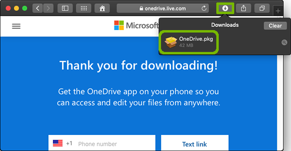 Download list with OneDrive package highlighted.