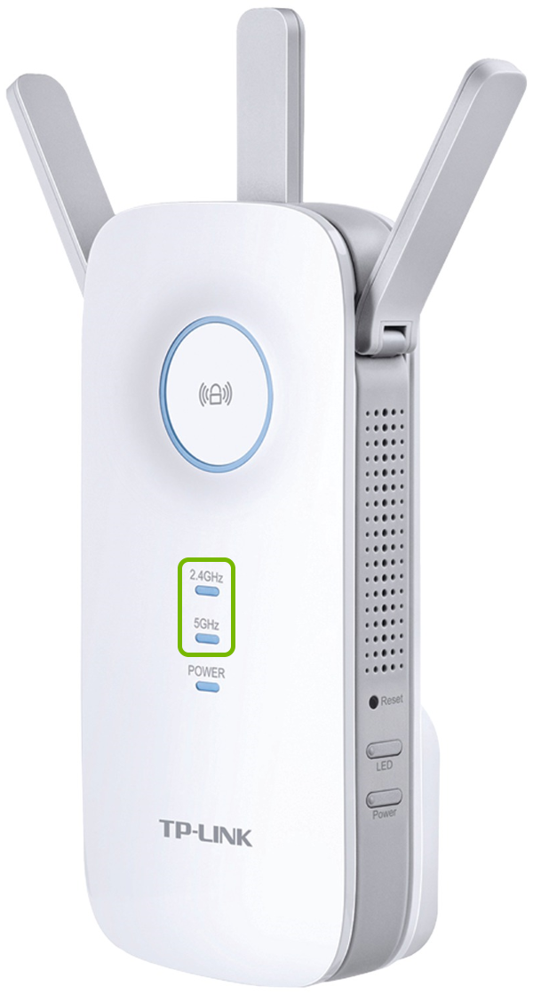 Band indicator lights highlighted on front of TP-Link range extender.