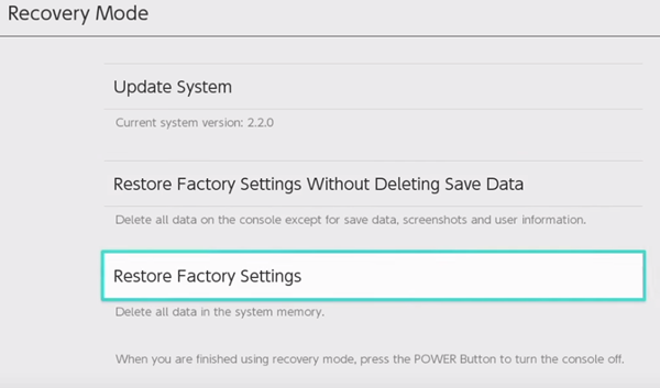 Nintendo switch restoring factory settings from recovery mode