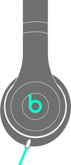 Diagram indicating connecting cable to right ear cup