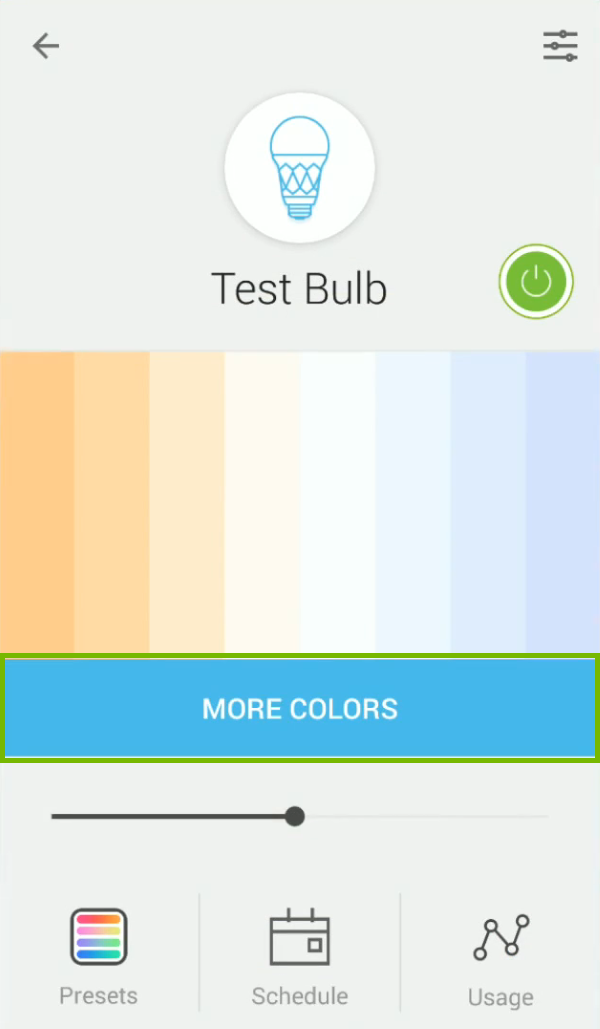 More Colors option highlighted in Kasa app.