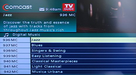 Common cable provider music channels.