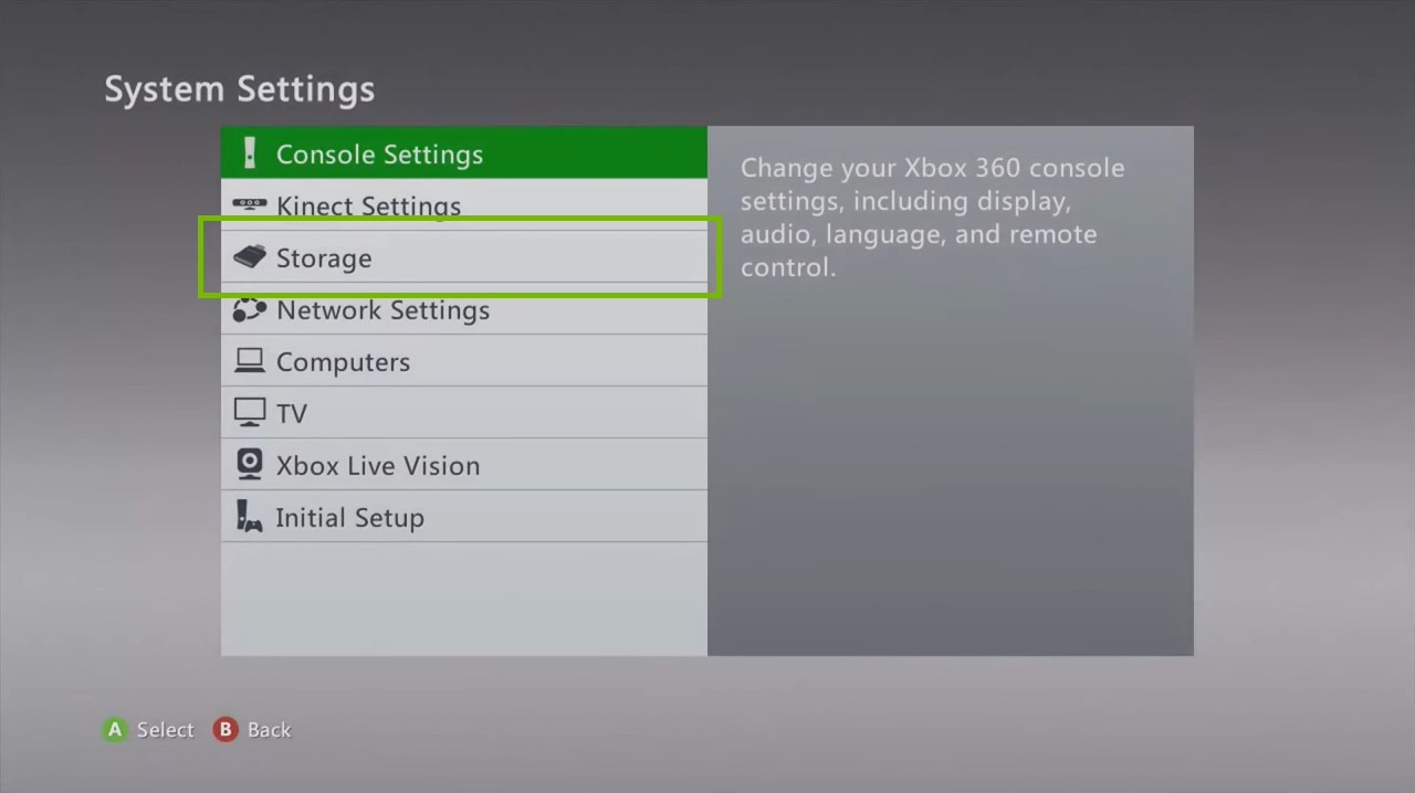Xbox 360 System Settings menu highlighting the storage option.