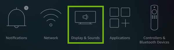 Settings menu with Display and Settings highlighted.