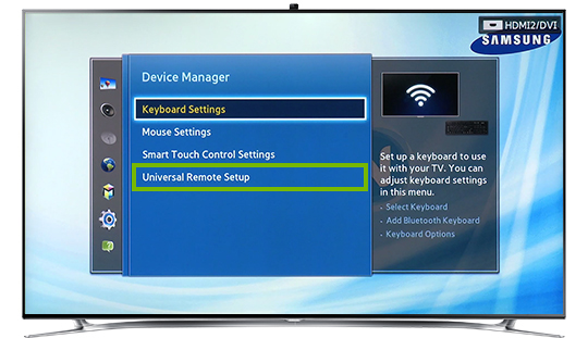 Universal Remote Setup menu option.