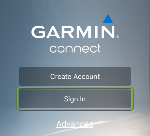 Sign In button highlighted in Garmin Connect app.