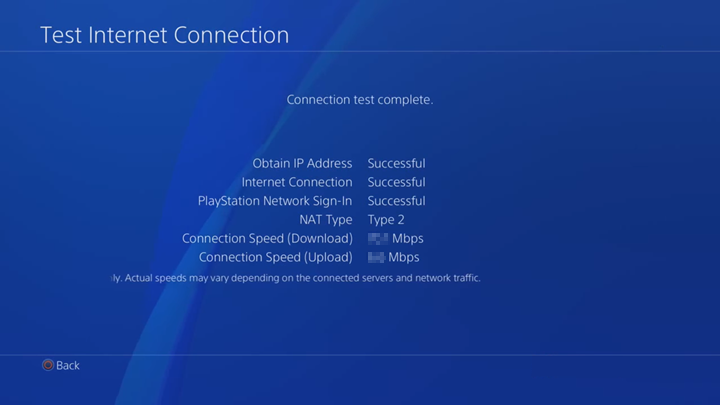 Internet connection test results.