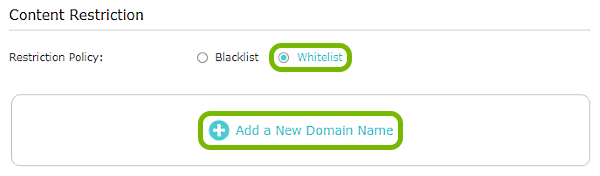 Whitelist and Add a New Domain Name options highlighted in Content Restriction settings of TP-Link router web interface.