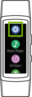 diagram of watch with settings icon highlighted