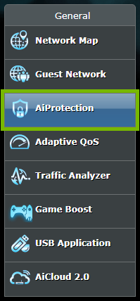 AiProtection option highlighted in menu of ASUS router web interface.