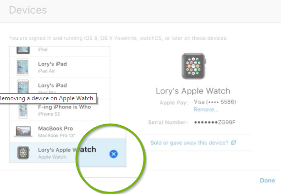 iCloud devices screen with an X highlighted next to the selected Apple Watch device.