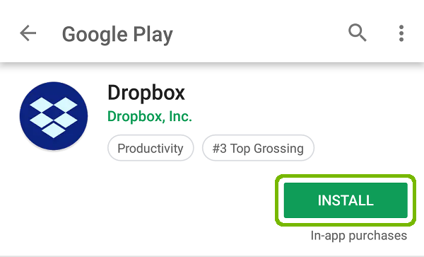 Dropbox store page with Install highlighted.