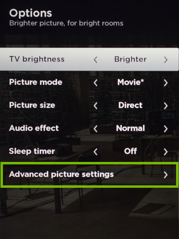 Advanced Picture Settings option highlighted on Options screen.