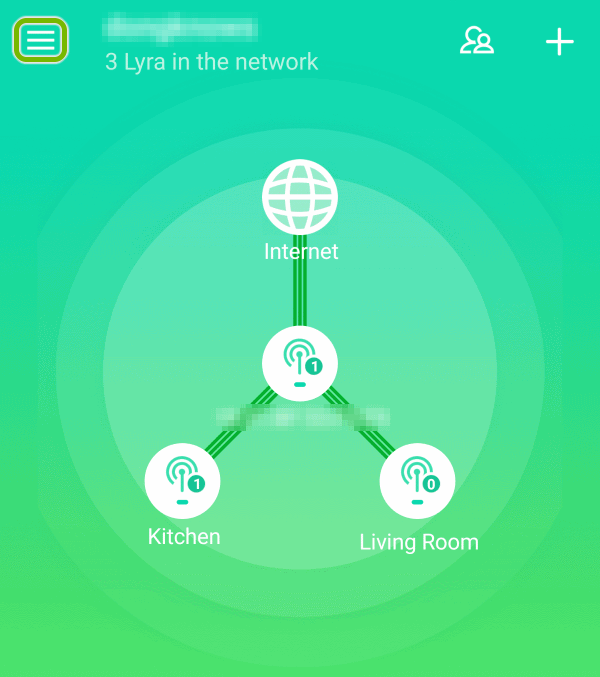 Menu symbol highlighted in ASUS Lyra app.