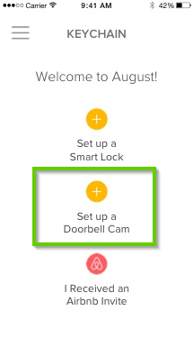 August Home app highlighting the set up a doorbell cam button