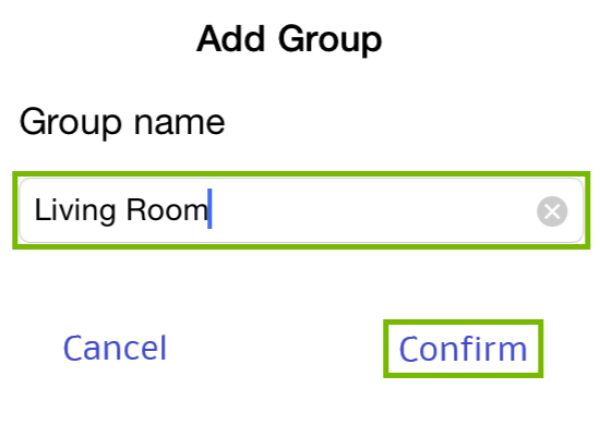 Group name and Confirm highlighted