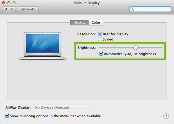 Display preferences with Brightness highlighted.