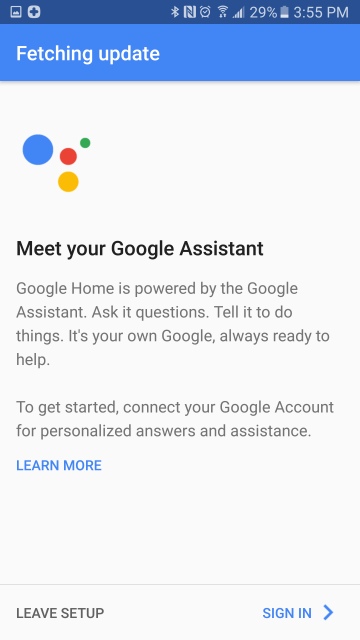 Assistant setup start screen