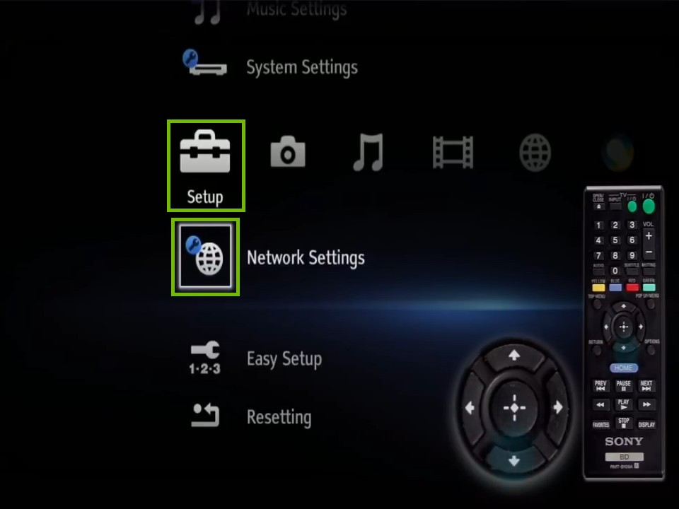 Home screen with setup, network settings highlighted