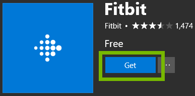 Microsoft Store with Fitbit app landing page and highlight on Get button. Screenshot.