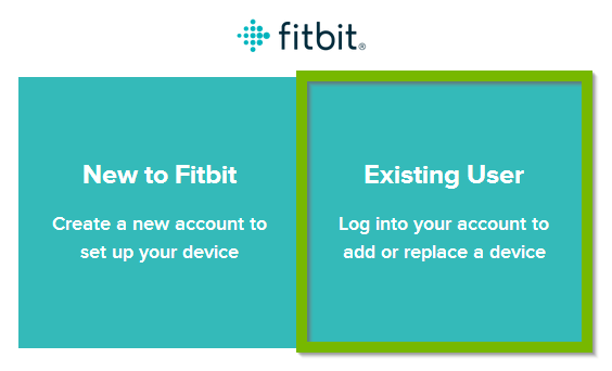 Fitbit app with Existing User selected. Screenshot.