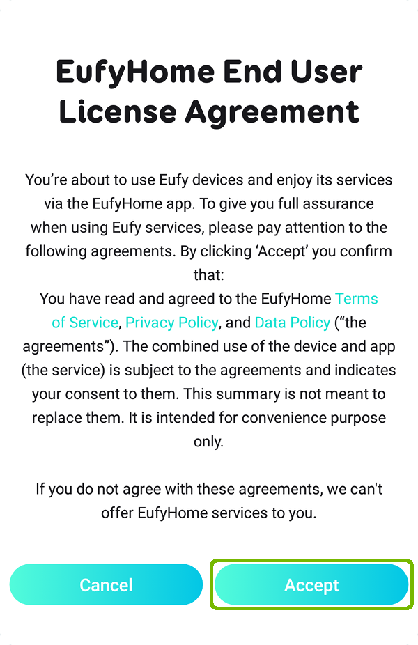 EULA with Accept highlighted.