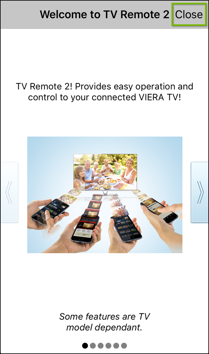 Panasonic TV Remote 2 app welcome screen, with the close button highlighted.