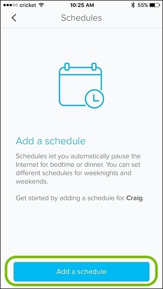 eero app add a schedule