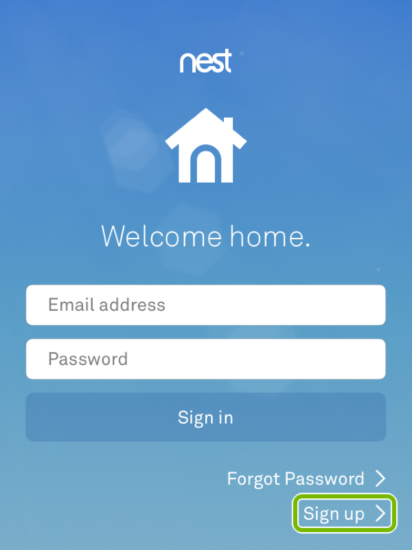 Sign Up option highlighted in Nest app.