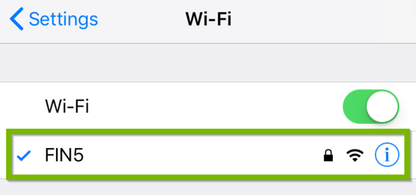 Wi-Fi settings with network highlighted.