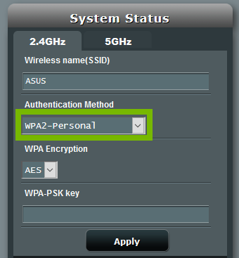 Authentication Method drop down box with WPA2-Personal selected. Screenshot.