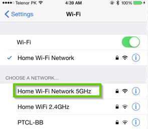 iOS network list showing a 5g network