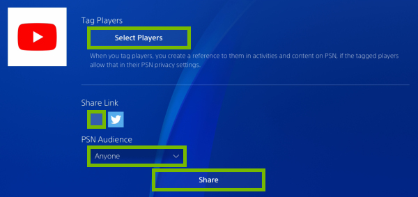 Select Players and Share buttons, Share Link checkbox and PSN Audience dropdown box highlighted in video clip sharing options on PlayStation 4.