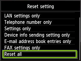 Reset settings screen with Reset all selected. Screenshot.