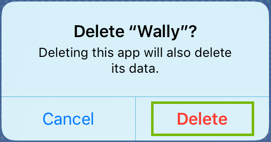 Uninstall prompt with Delete highlighted