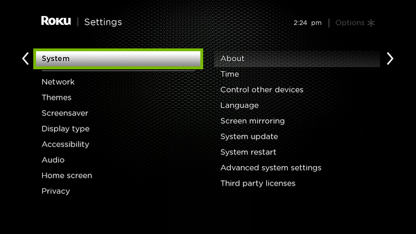 System option highlighted on Roku settings.