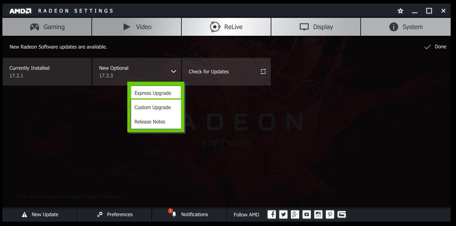 AMD Radeon express upgrade button