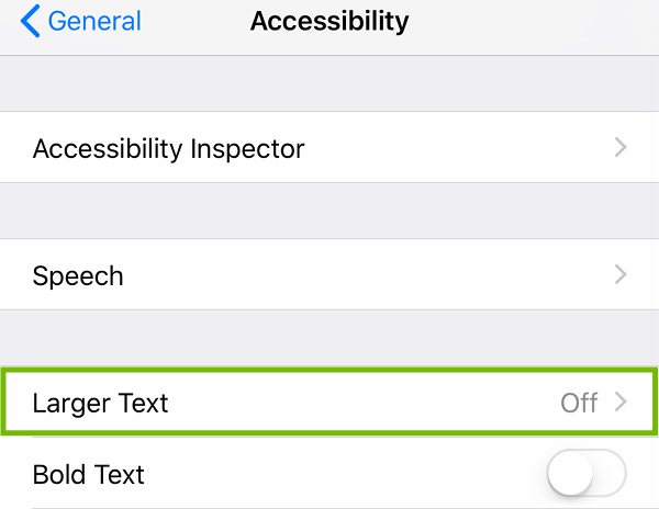 Accessibility with Larger Text highlighted.