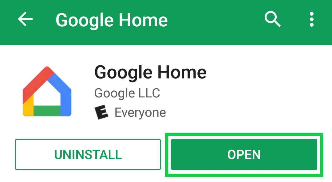 Google Home app page with Open highlighted