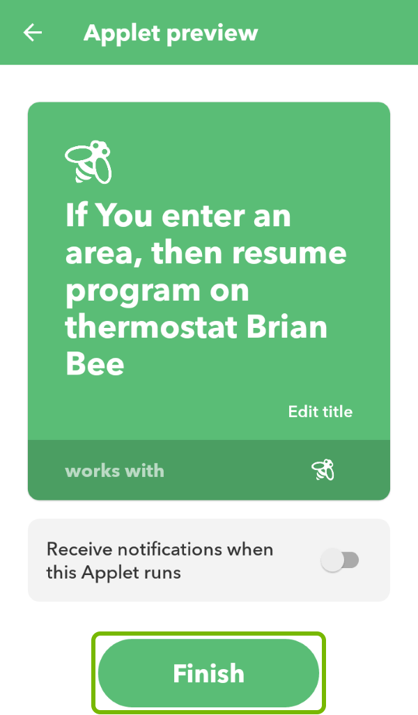 Finish option highlighted to complete the creation of an applet in IFTTT app.