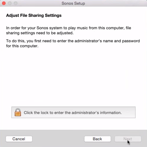 File sharing adjustment in Sonos Setup on Mac