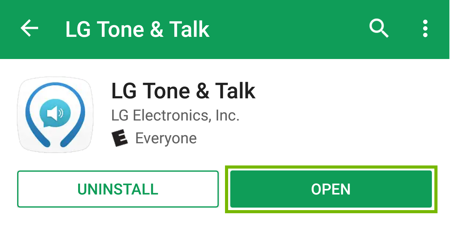 l g tone and talk app with open highlighted