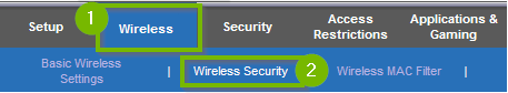Wireless tab with Wireless security selected. Screenshot.
