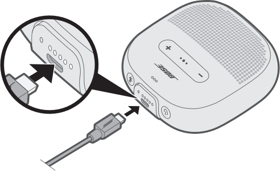 Diagram showing how to charge the speaker.