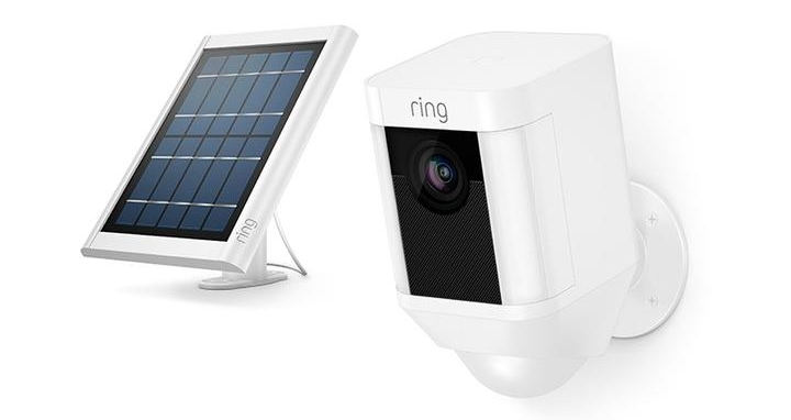 Ring Spolight Cam and solar panel.