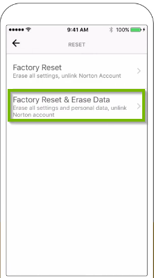 Factory reset setting screen