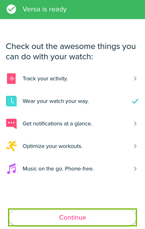Tapping continue on the fitbit app